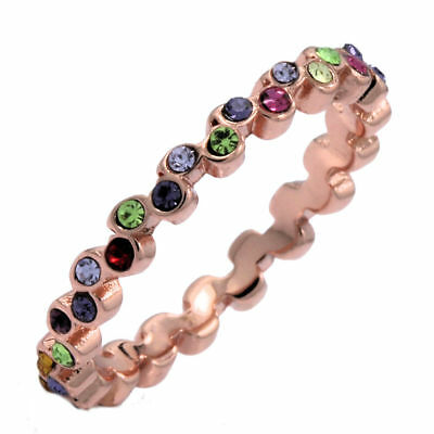 Rose Gold Plated Stackable Wedding Band Cubic Zirconia Ring