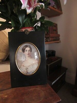 Rare Large Size Early Victorian Portrait Lady Waterclour In Papier Mache Frame