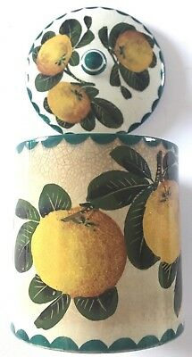 Wemyss Pottery Pot and Cover, Painted with Oranges 16cm x 12cm