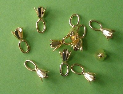20 x 12mm gold plated bell caps with large top loop, findings for jewellery