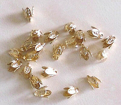 20 small (4mm) gold plated 4-prong bell caps, findings for jewellery making