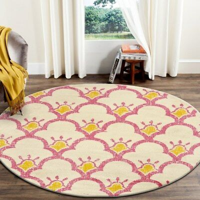 """LR Home Whimsical Shining Scales Cream / Pink Kids Area Rug ( 4'8"""" Round )"""