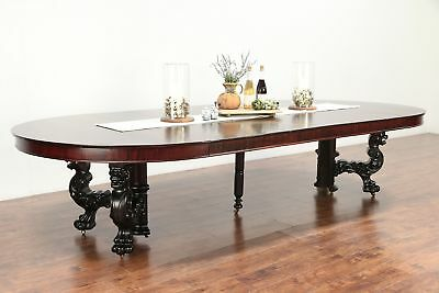 Empire Antique 5' Round Carved Griffins Mahogany Dining Table Extends 12' #29779