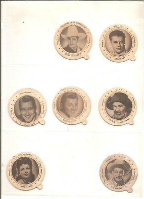 "Lot of 7 1940s 2 1/4"" movie star Dixie Lids"