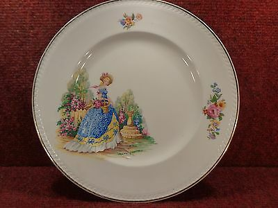 "PORTLAND/RIDGWAYS CRINOLINE LADY & GARDEN 10"" CAKE PLATE Sept 1958 FREE UK POST"
