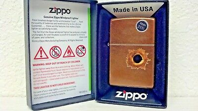 Zippo, Lighter, Bullet Hole, Toffee, Model# 24717, Made In The U.s.a.