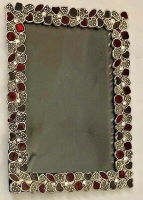 Silvertone Metal Rhinestones 6 12 X 9 Picture Frame Holds 4x6