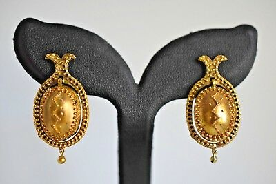 Gorgeous Etruscan Antique Granulation 14K Gold Bead Pierced Post Dangle Earrings