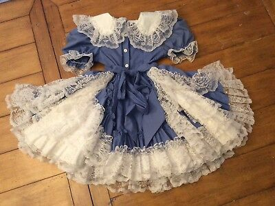 Vintage girl Blue frilly ruffle Dress Historical dance Halloween costume size 5