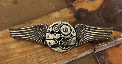 Steampunk Antique Gear Wings Pin Costume Jewelry Adult One Size