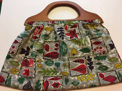 Knitting Bag Vintage Fabric Wooden Handles Newly Handcrafted 1940's Fabric