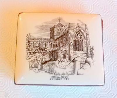 Vintage Grays Pottery Box And Cover Hexham Abbey Founded 674