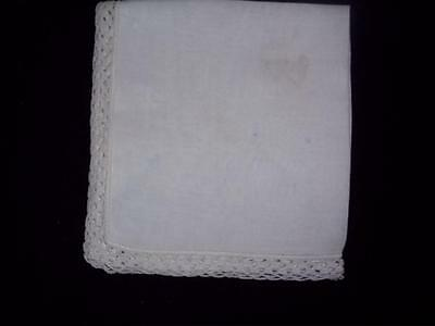 Linen Handkerchief Vintage Hankerchief White Crochet Trim  Crochet Points