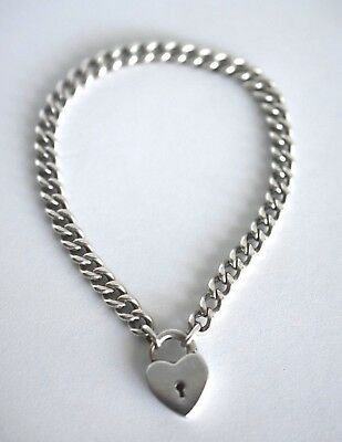 Vintage Marked Sterling Silver Puffy Heart Padlock Clasp Lock Curb Link Bracelet