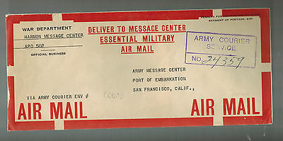 1940s USA Harmon Message Center APO 502 New Caledonia Army Courier COver Mail
