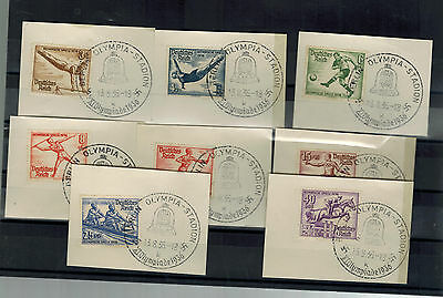 1936 Berlin Germany Olympics Stamps Complete Set on Pieces with Games Cancels