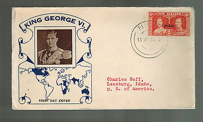 1937 Niue New Zealand first day cover to USA KGVI Coronation Cachet