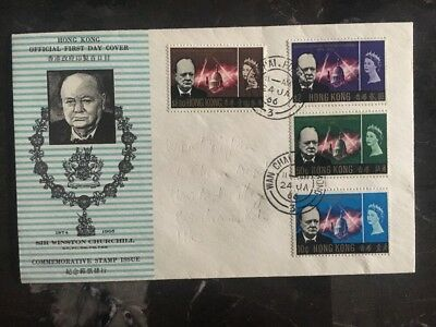 1966 Hong Kong First Day Cover FDC Sir Winston Churchill Commemorative Stamps