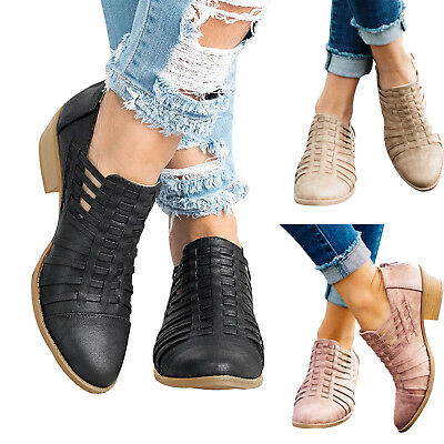 Womens Low Flat Heels Short Ankle Boots Retro Booties Casual Round Toe Zip Shoes