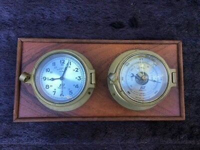Plastimo Boat clock and barometer, brass case, nautical marine instuments,