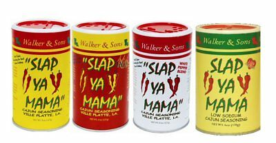 Slap Ya Mama Cajun Seasoning-3 Original,3 HOT,3 White Pepper,3 Low Sodium & BULK