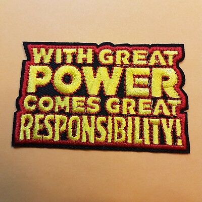 "Spider-man ""With Great Power"" Patch 3 1/2 inches Wide"