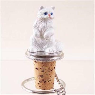 Persian White CAT Hand Painted Resin Figurine Wine Bottle Stopper