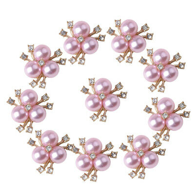 10x Light pink Crystal Pearls Button Craft Findings Rhinestone Ornaments