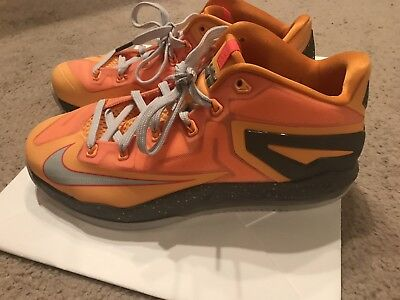 100% authentic bf6a4 2a3f7 Nike LeBron 11 XI Low Floridians Mango 642849-800 Basketball Shoe James  Men s 10