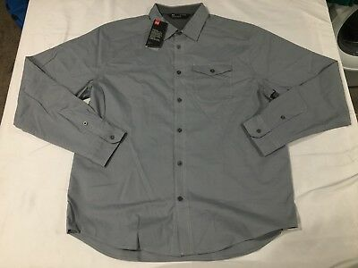 cf808c04 NWT $79.99 UNDER Armour Mens Cascade Chambray Flannel LS Buttondown Gray XL
