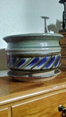 """Ceramic Planter uniquely handmade blue and green .11"""" diameter.7 1/2.h must see!"""