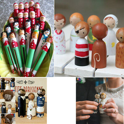 Set Montessori Home Decor Kid Toy Unpainted Wooden People Peg Dolls DIY Crafts