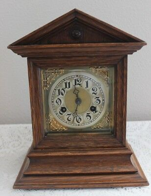 Antique 1890 Junghans Germany Shelf / Mantle Clock 8 Day 1/2/1 Hour Gong Strikes
