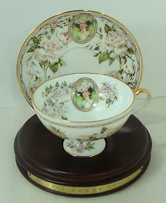 1992 Avon  Mrs Albee Honor Society Unique Cup & Saucer with wood stand Gorgeous