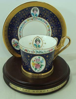1995 Avon  Mrs Albee Honor Society Unique Cup & Saucer with wood stand Gorgeous