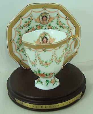 1994 Avon  Mrs Albee Honor Society Unique Cup & Saucer with wood stand Gorgeous