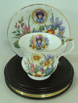 1996 Avon  Mrs Albee Honor Society Unique Cup & Saucer with wood stand Gorgeous