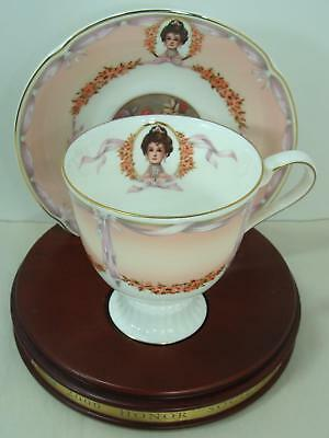 2000 Avon  Mrs Albee Honor Society Unique Cup & Saucer with wood stand Gorgeous