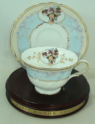 1998 Avon  Mrs Albee Honor Society Unique Cup & Saucer with wood stand
