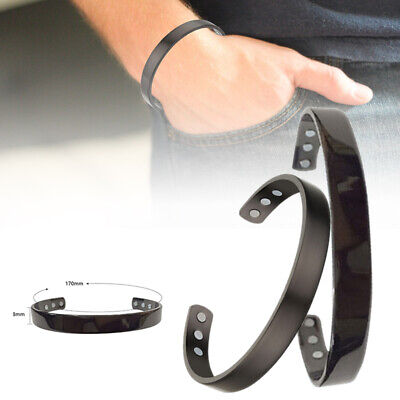 Dark Grey Copper Magnetic Bracelet Plain Pain Arthritis Cuff Bangle Wristband