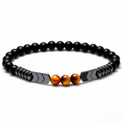 Natural Matte Onyx Bead Hematite Arrow Tiger Eye Stone Energy Bracelet Men Women