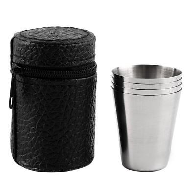 4pcs Stainless Steel Shot Glass Cup Drinking Mug w/ PU Leather Cover Case Set