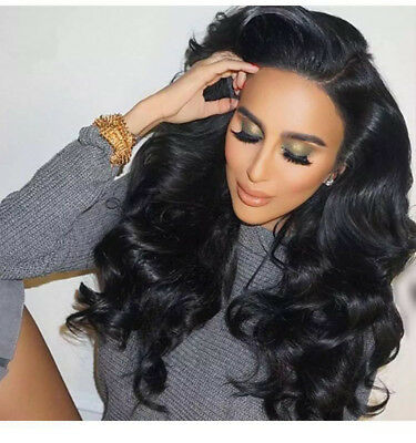 US Ship Women Black Wig Long Wave Lace Front Wig Heat Resistant Synthetic Hair