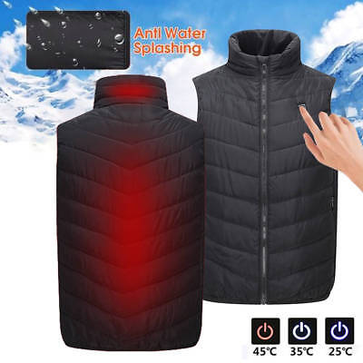 Mens USB Heated Sleeveless Vest Electric Battery Heating Winter Warmer Jacket CA