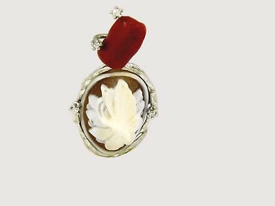 Red Coral Cameo Flower 925 Sterling Silver Necklace Catena Argento con Cammeo