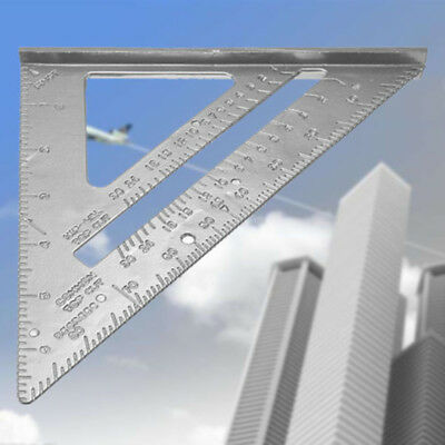 ❤️90°Metric Ruler Aluminum Alloy Speed Square Roofing Triangle Protractor Silver