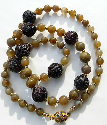 Antique Carved Chinese Garnet Shou Beads and Antique Agate Beads Necklace, OOAK
