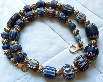 Ancient Venetian 7 L green and blue chevron beads necklace, 18k solid gold clasp
