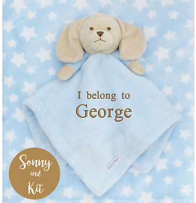 Personalised baby boy comforter and blanket set, blue puppy embroidered gift