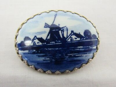 Delft Blue And White Windmill In Holland Pin Brooch - STA P23